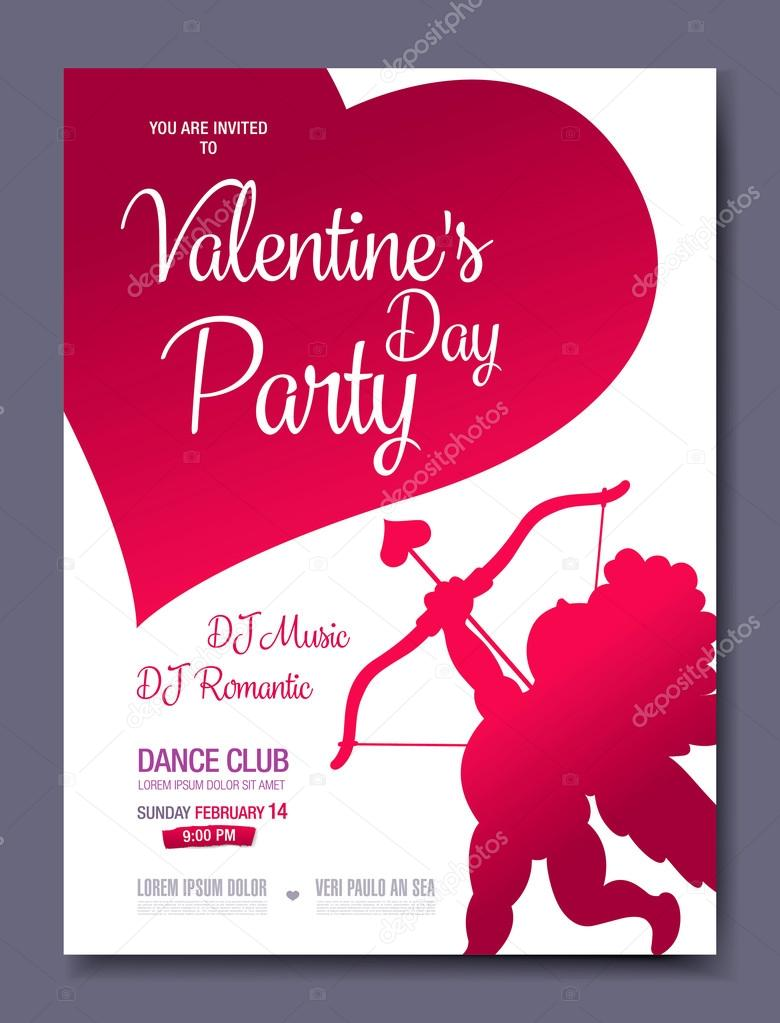 Valentine\'s day poster template design — Stock Vector © Igor_Vkv ...