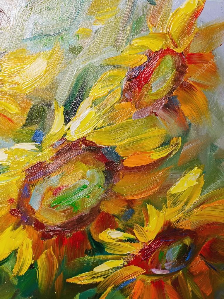 Texture oil painting flowers art painted color image paint