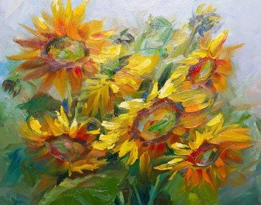 "Картина, постер, плакат, фотообои ""текстура живописи маслом, цветы, фрагмент живописи картина цветы"", артикул 107056870"