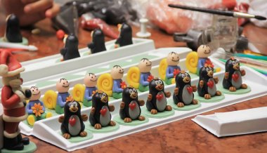 figures of marzipan modeling, preparation of sweet decorations f