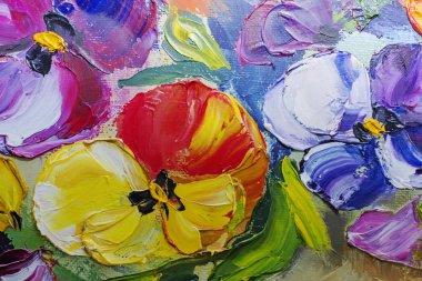 "Картина, постер, плакат, фотообои ""текстура живописи маслом, цветы, фрагмент живописи картина цветы"", артикул 113917720"