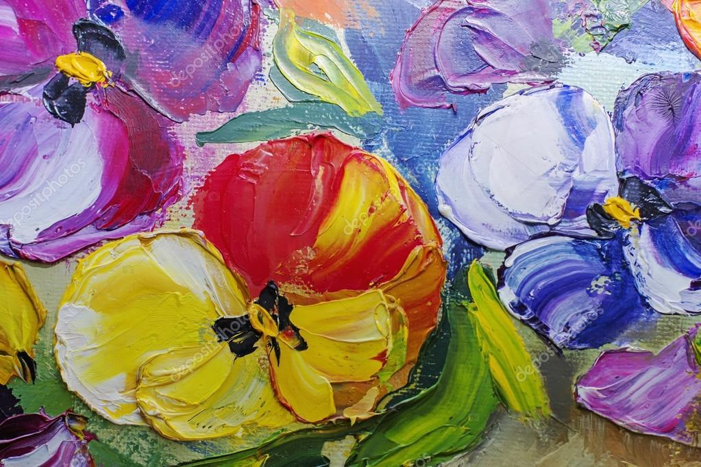Texture di dipinti ad olio, fiori, pittura frammento di dipinto ...