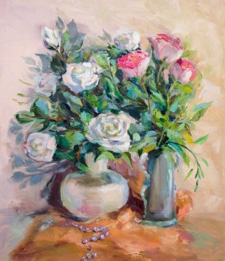 Oil Painting, Impressionism style, texture painting, flower stil
