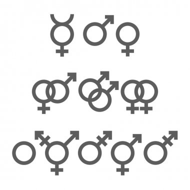 Icons set of gender symbols. Vector, eps10 icon