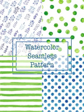 Set of watercolor seamless patterns green and blue color.