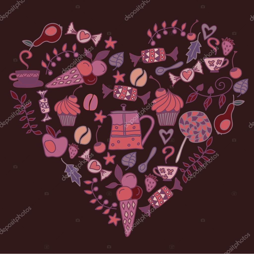 Herz aus dem Tee-Kaffee-Muster in dunklen Farben — Stockvektor ...
