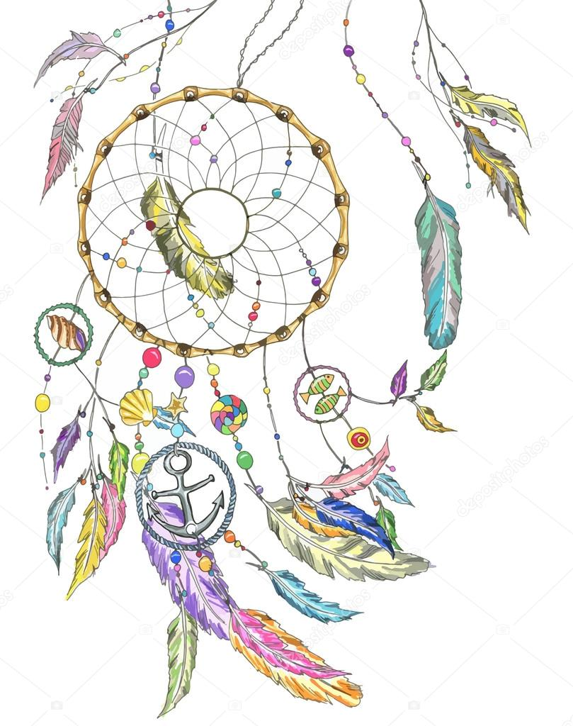 Dreamcatcher wit colorful feathers, beads, items from the sea: shell, fishes, star, anchor, seashell. Vector file for any your project stock vector