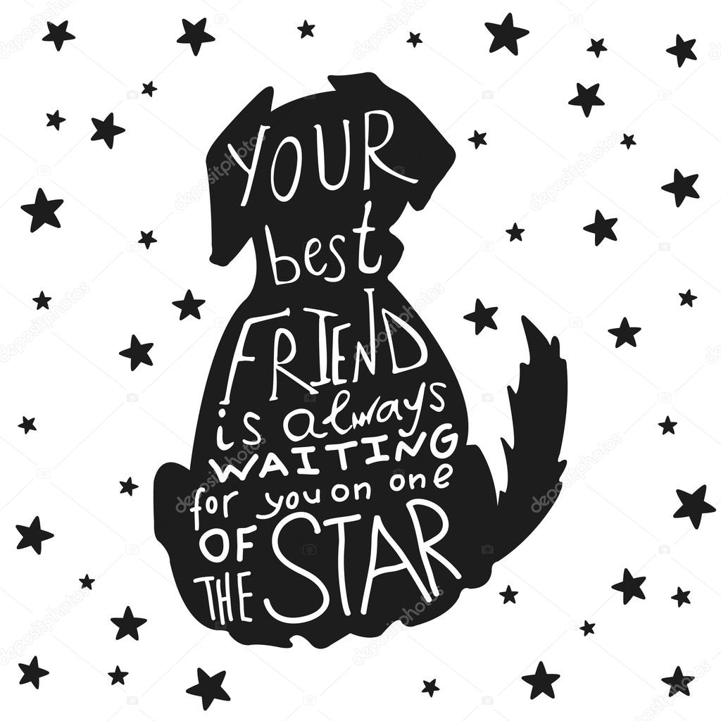 Dog Friends Grungy Card For Friendship Day With Quote Stock