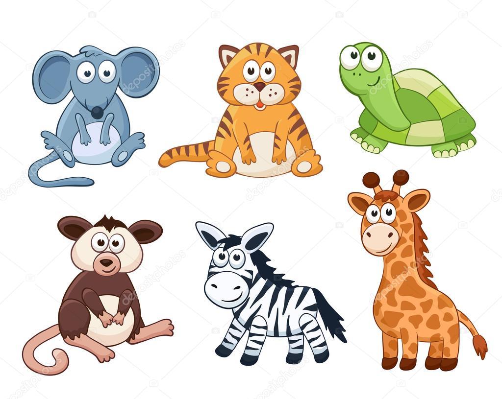 Colecci n de animales de dibujos animados archivo - Immagini di animali dello zoo per bambini ...
