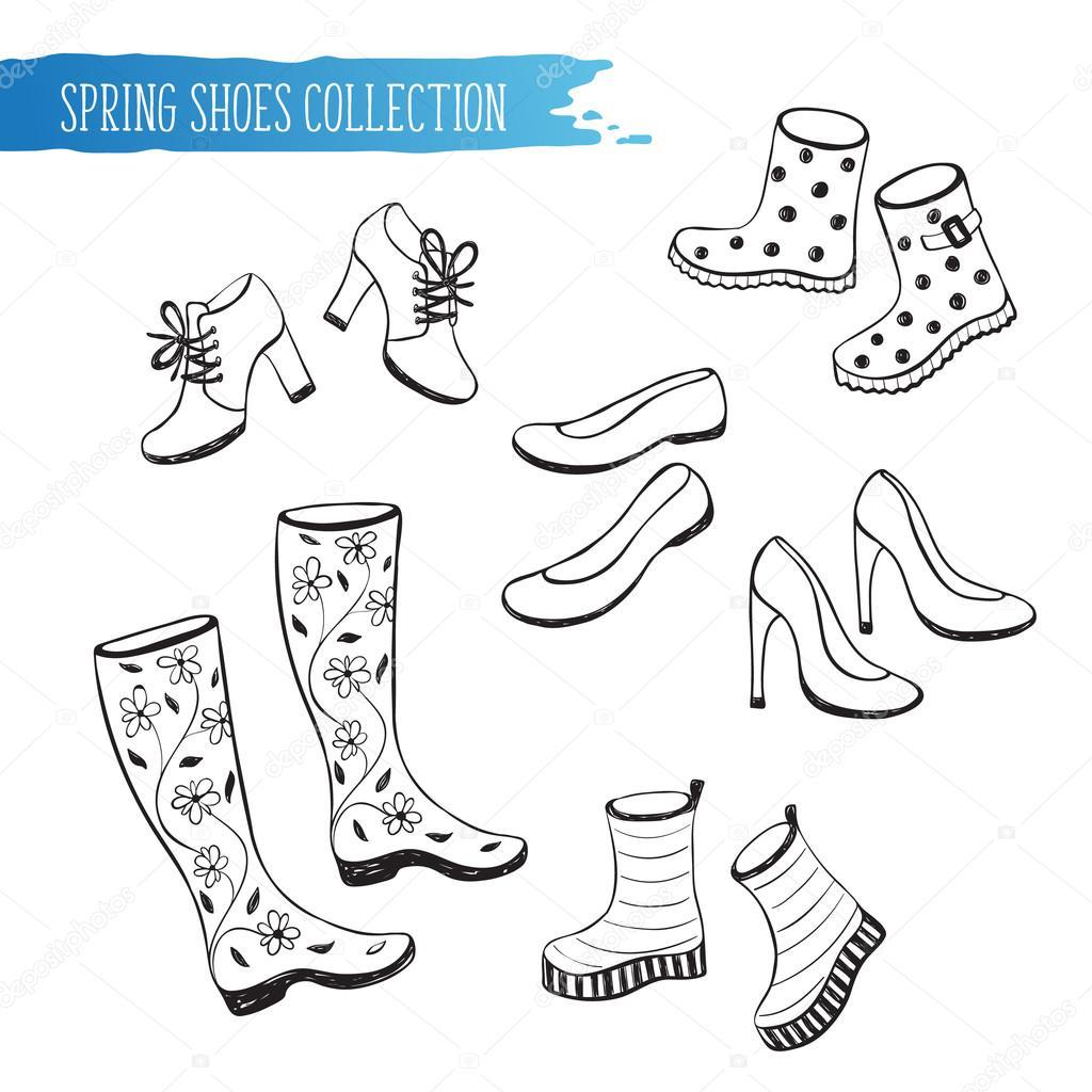 Bahar Ayakkabı Koleksiyonu Stok Vektör Ollymolly 105761364