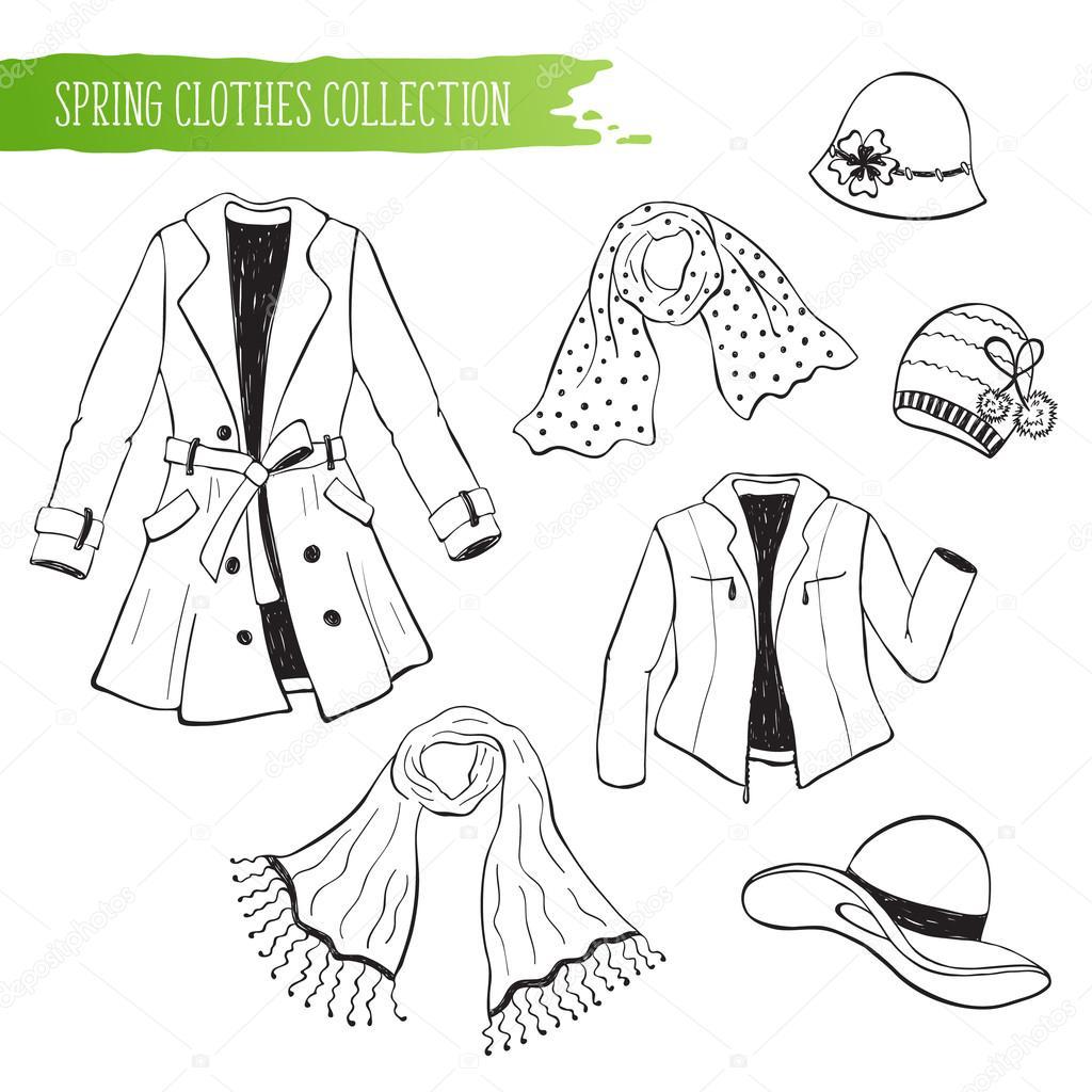 colección de ropa de primavera — Archivo Imágenes Vectoriales ...