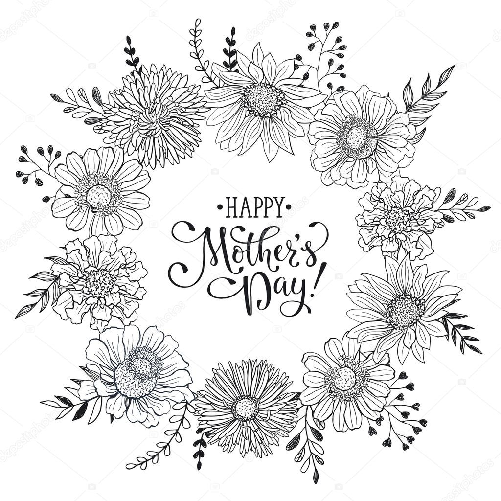 Mothers day card stock vector ollymolly 107864526 mothers day greeting card template happy mothers day wording with flowers hand drawn black on white background decorative doodle frame from flowers for kristyandbryce Choice Image