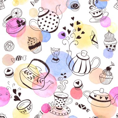 Tea time seamless pattern. Tea party background design. Hand drawn doodle illustration with teapots, cups and sweets. clip art vector