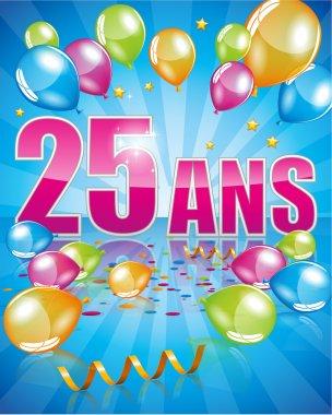 French birthday card 25 years