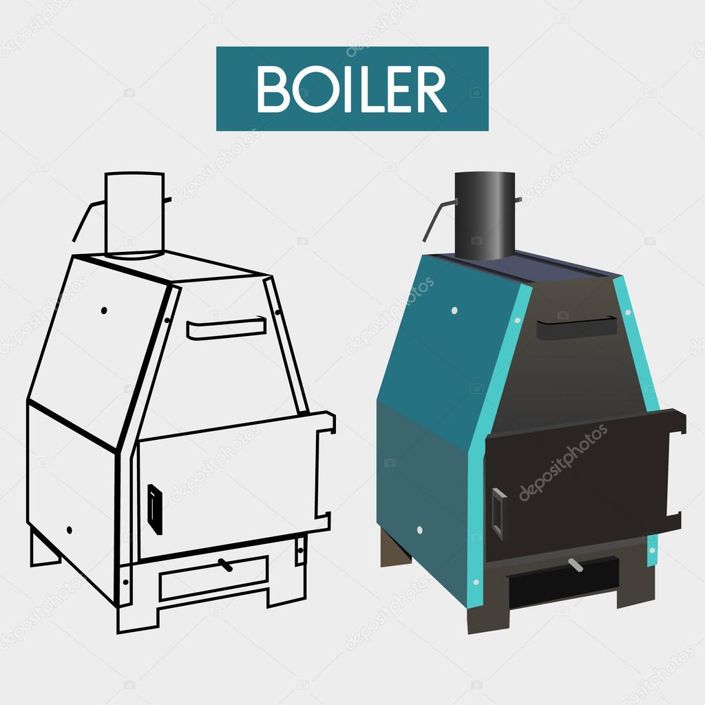 Solid fuel boiler.Vector illustration — Stock Vector © albode #93647788