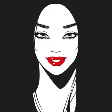 Close up face, black and white graphic drawn girl portrait with long eyelashes and beautiful line of eyebrows, bright red lipstick, or lip gloss and long black hair, smiling looking forward, vector