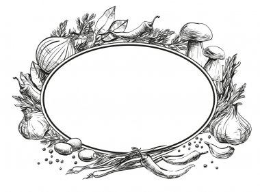 Center oval double frame empty for text around it are located spices, herbs, condiments and vegetables, strokes and black lines hand drawing on chalkboard for menu design restaurants, cafes, bistros, vector, white background