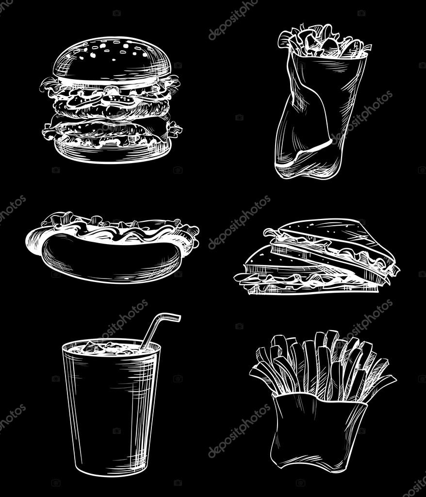 Graphic lines set icons drawn on chalkboard, fast food meal French fries, sandwich, hamburger, cheeseburger, Hot Dog and cup of ice drink, images for design menu restaurant, cafe, bistro or snack bar, vector white on black, inversion