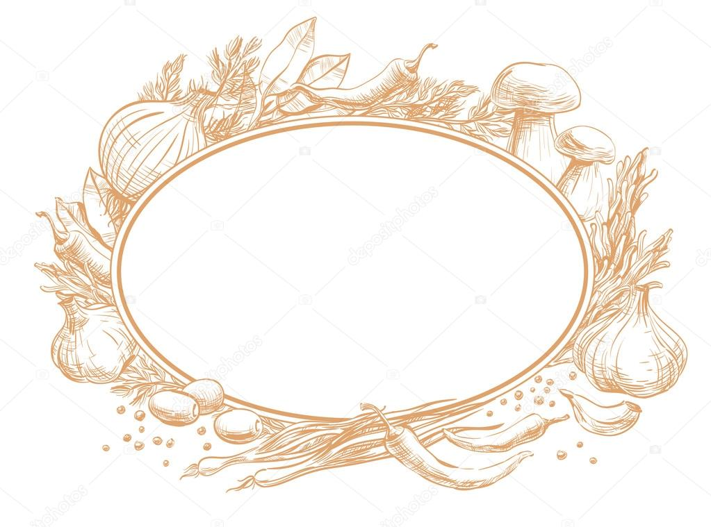 Oval double frame empty for text with a spices, herbs, condiments ...