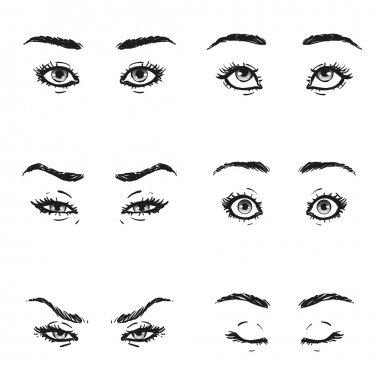 Set female eye with lashes and eyebrows shape and views with different facial expressions and emotions is looking up, fear, anger, contempt, squint, closed eyelids, serenity, surprise, isolated vector
