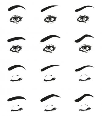 Icons set female eye with long eyelashes and different shape brow line look straight ahead, closed eyelid, black and white to show the make-up design diagrams and instructions, isolated vector objects
