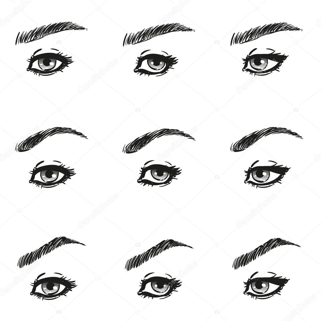 Icons set female eye with long eyelashes and eyebrows different icons set female eye with long eyelashes and eyebrows different shapes look ahead to the left to the right black white to show the make up design diagrams ccuart Gallery