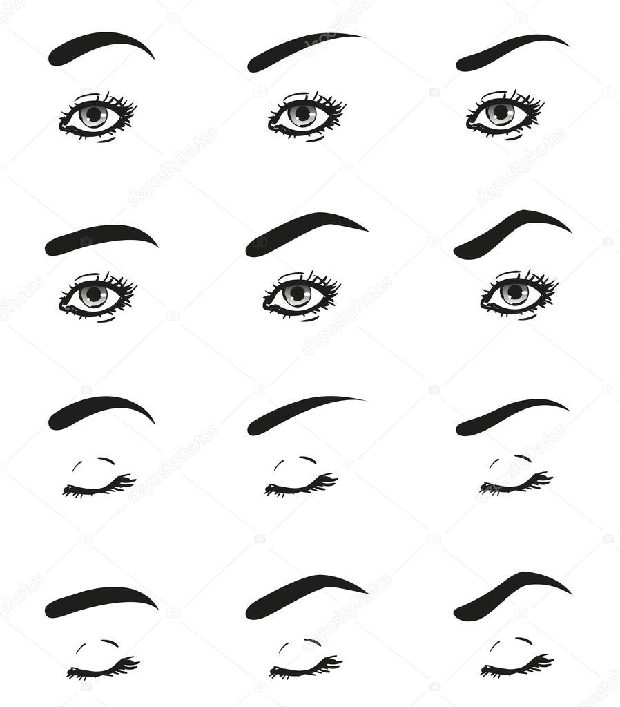 Iconos conjunto mujer ojo con pestañas largas y línea de frente de ...