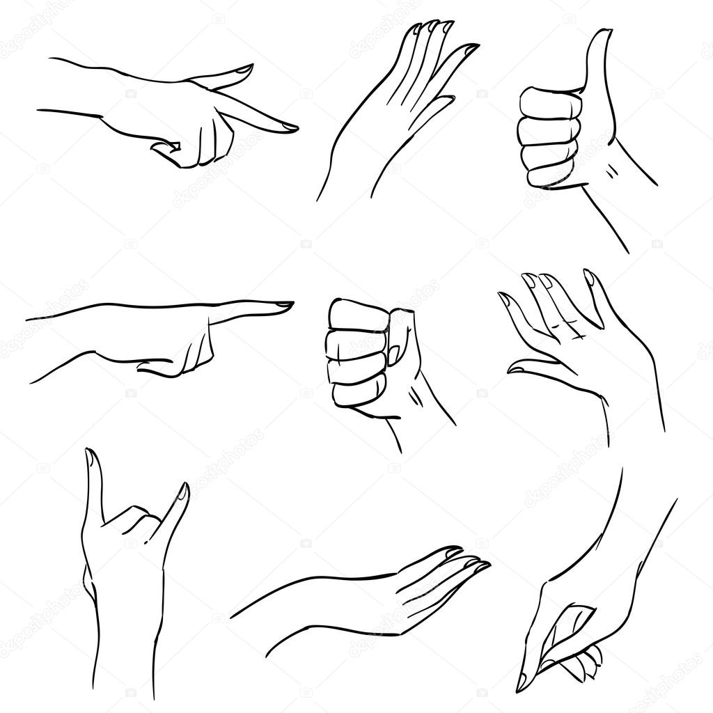 Conjunto de manos y dedos en diversas posiciones y gestos, trazos ...