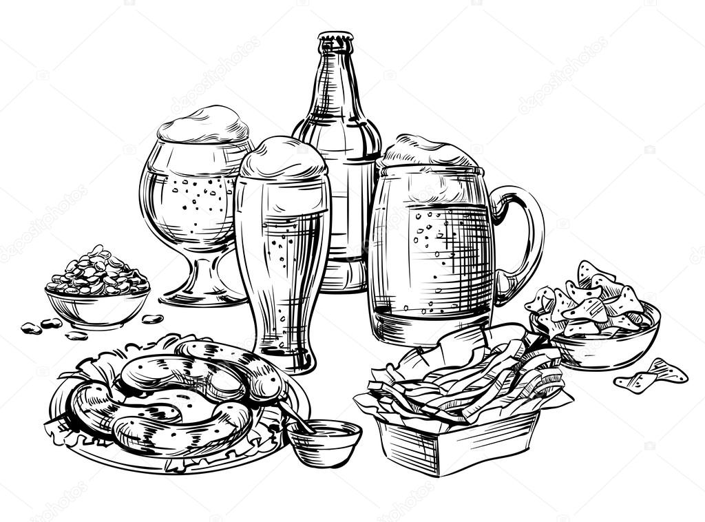 Verschillende Glazen Mokken, Fles, Blikjes Bier En Snacks