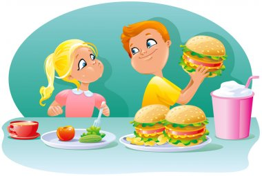 Little childrens boy and girl eating a healthy and large junk food sandwiches burgers cheeseburgers chips snacks