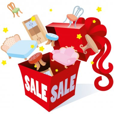 Holiday gift packaging box with bow inscription sale prices of which the fireworks are objects of different goods furnishings for the  home, garden terrace, vector