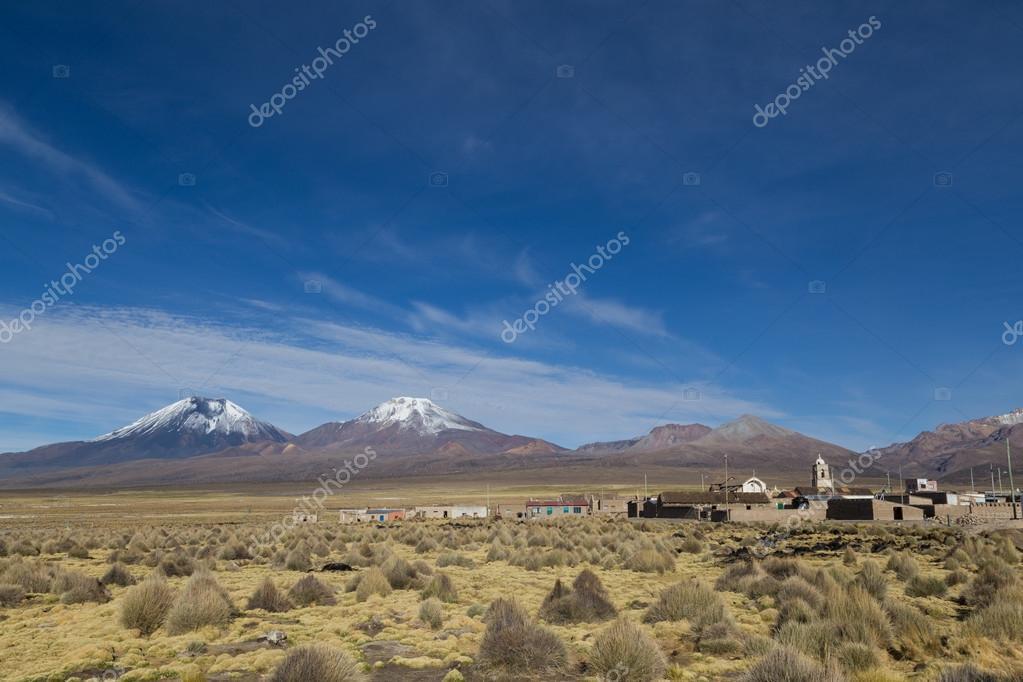 Sajama village and volcano landscape, Bolivia