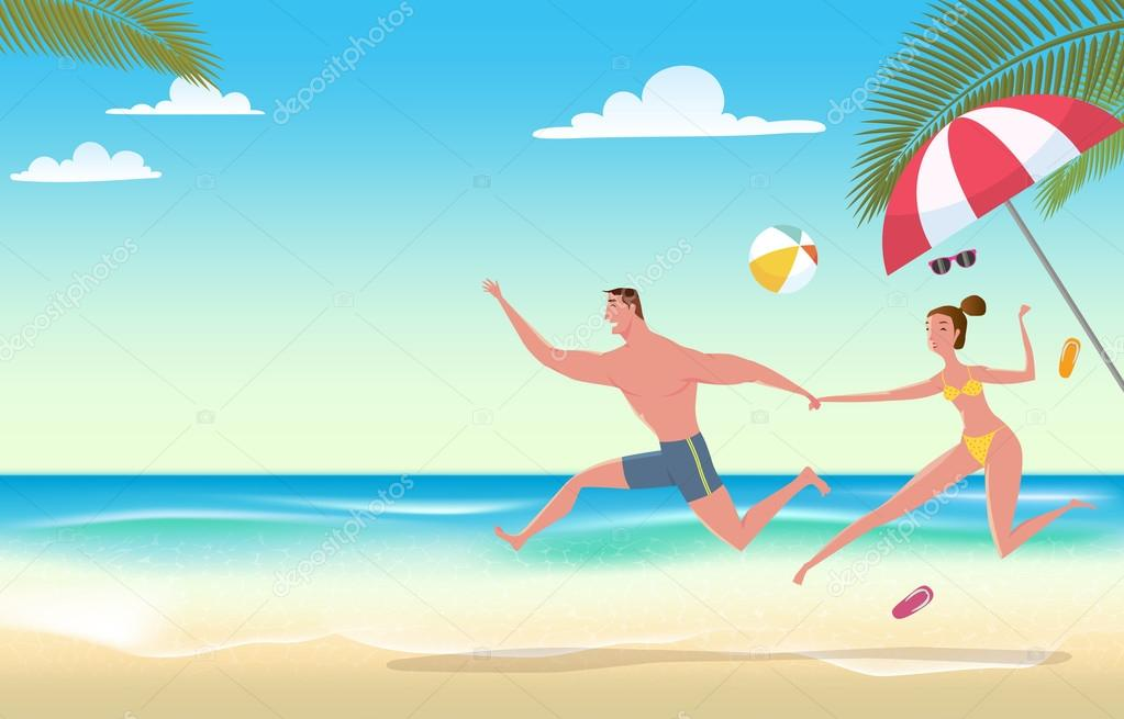 Couple on beach vacation vector illustration of summer for Cool vacations for couples