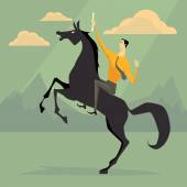 Young businessman riding a horse skittish. Business concept for success.