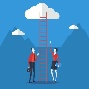 Businessman look up a ladder to cloud over blue background. Vector Illustration Business concept a ladder Corporate of success.