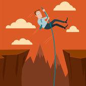 Kaufmann, überqueren der Schlucht mit dem Stabhochsprung. Vektor-Illustration