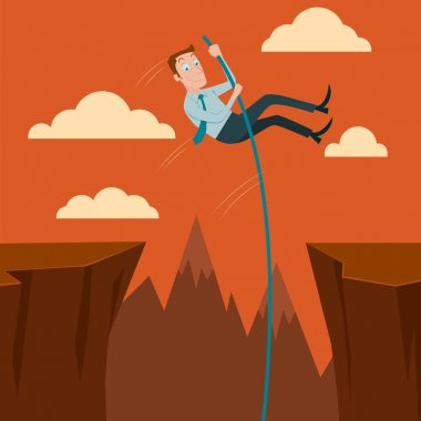 Businessman crossing the chasm with the pole vault. Vector Illustration.