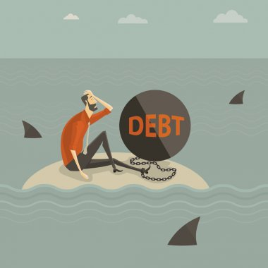 Abstract business concept of despondent, The man be trapped on the island, with a chain tied to the large steel letter DEBT, surrounded by sharks. Vector illustration cartoon modern style.