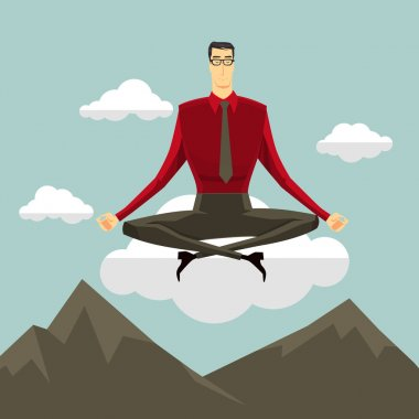 Businessman in the sky position meditating in peace for any spiritual and inner peace business concepts,Vector illustration modern style.