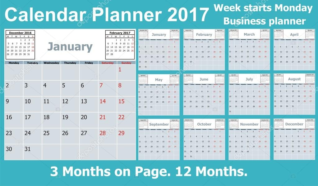calendar planner for 2017 year 3 months on page week starts monday