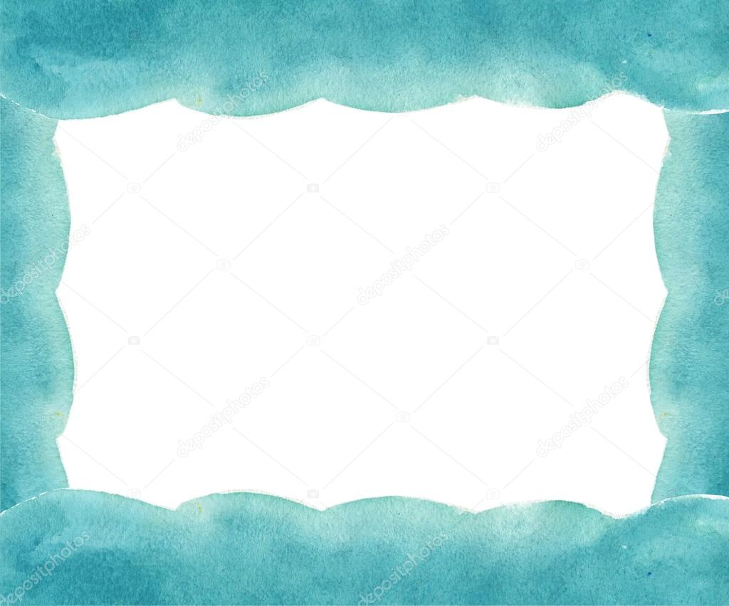 watercolor frame turquoise mint color watercolor background