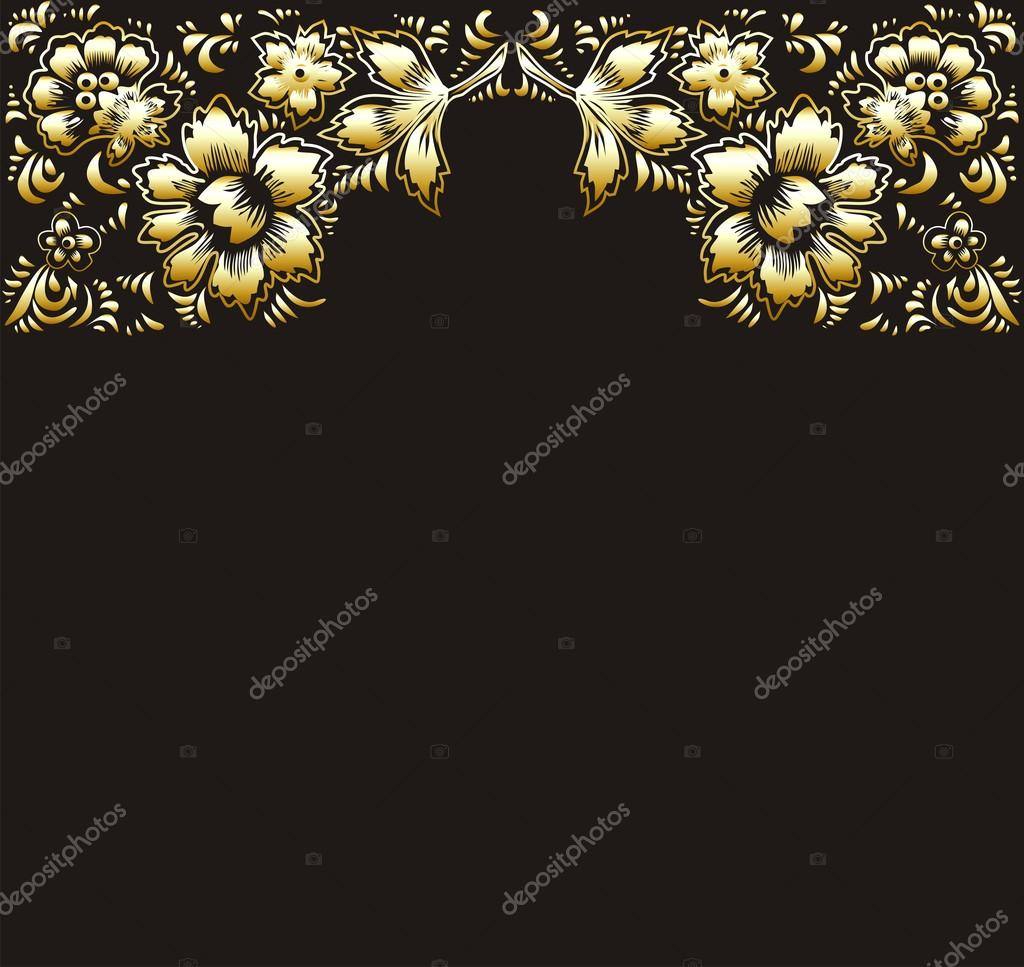 Golden Flowers On A Black Background The Theme Of Greeting Cards And Invitation With Gold Leaves Magic Floral Wallpaper