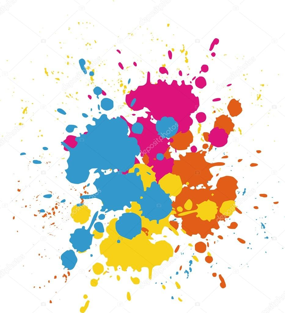 Colorful Bright Ink Splashes On White Background Color Paint