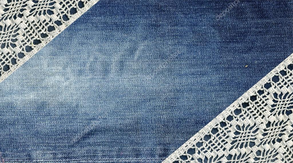 jeans and lace background with denim and handmade lace