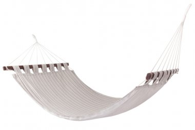 a hammock to rest and travel on a white background isolated Genuine linen