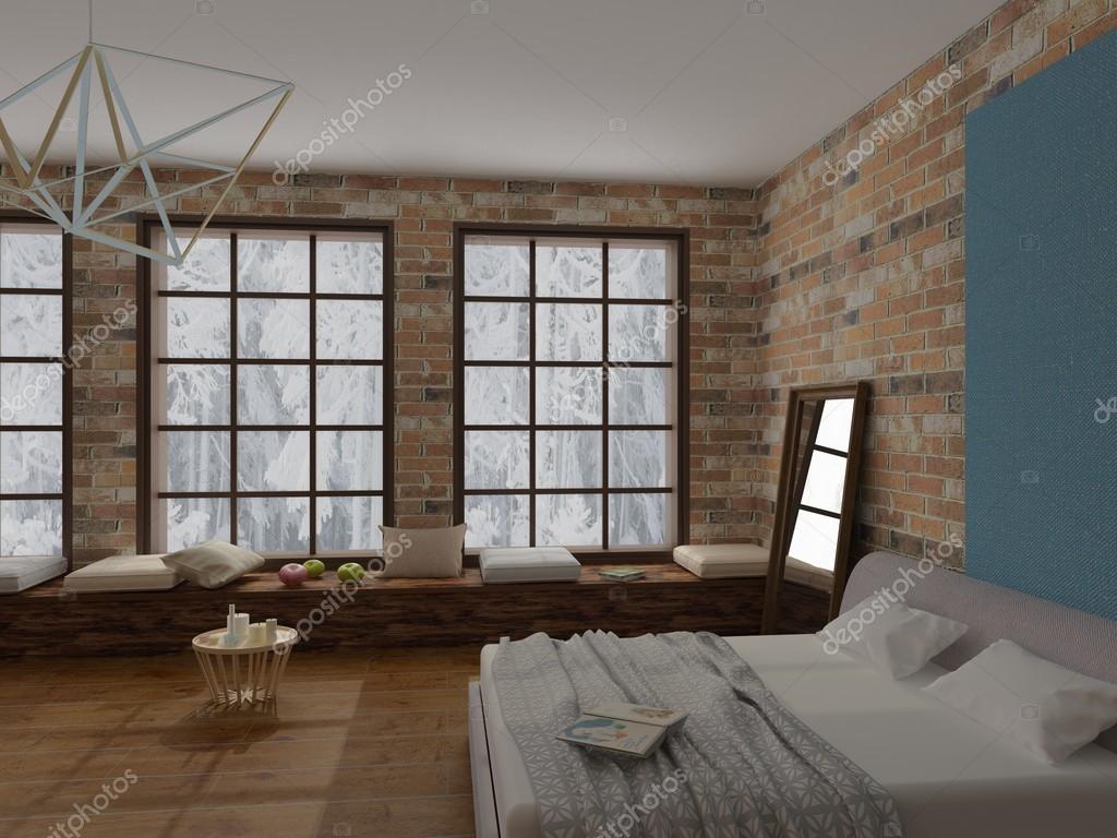 rendu de confortable int rieur de chambre coucher de style loft avec plancher de bois franc de. Black Bedroom Furniture Sets. Home Design Ideas