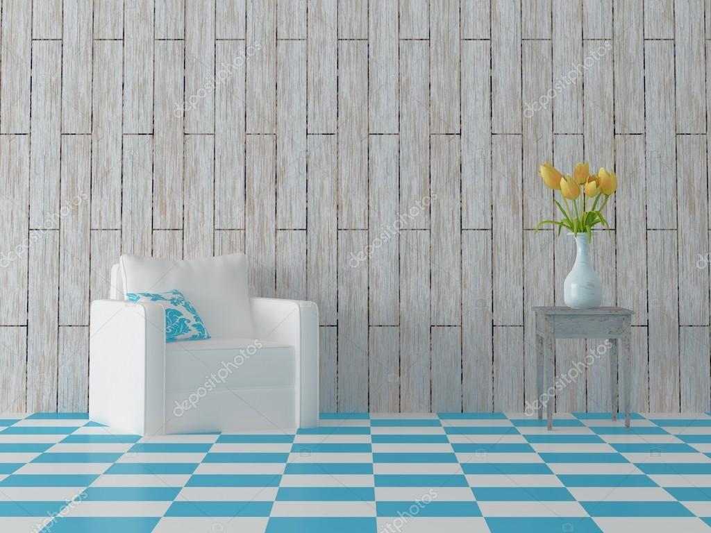 Poltrona con cuscino e fiori sulle piastrelle sgabello blu u2014 foto