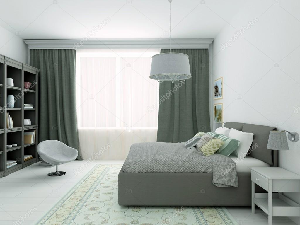 Camera Da Letto Grigia 3d illustration of classic bedroom in gray colors — stock