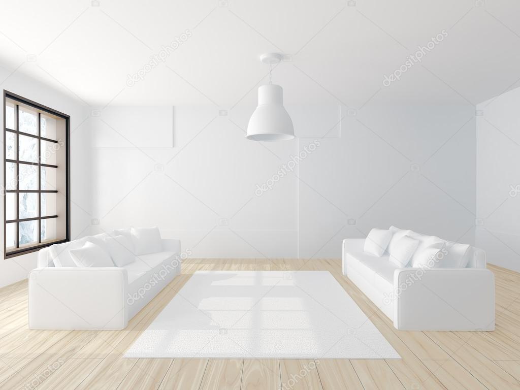 Deux Canapés Blancs Dans La Grande Salle Moderne Blanc Vide Avec Plancher  De Bois Franc, Grandes Fenêtres Et Un Tapis Blanc Au Sol U2014 Image De ...