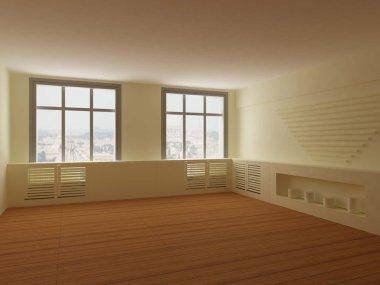 Bright interior of empty room